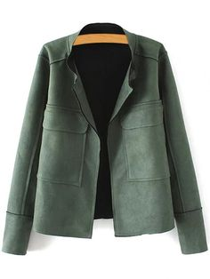 Plus Size Suede Jacket - GREEN 3XL Mobile