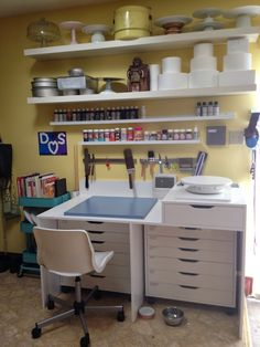 Where SAB cakes lives! Cake room, cake area, cake supplies, cake tools, cake organizing, at home cake making, organized cake supplies.