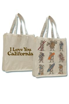 "Each of the nine bears depicted on our jumbo tote represent a part of what makes California great; Ski, Wine, Computer, Move, State, Bike, Miner, Surf and Orange Bears. Design inspired by vintage art from the 1913 sheet music cover of California's state song, ""I Love You California"". Measures 14"" x 17"" x 7"".   California-Nine-Bears Jumbo Tote by SF Merchantile. Bags - Totes San Francisco"