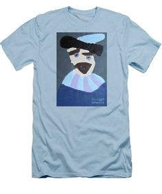 Patrick Francis Light Blue Designer Slim Fit T-Shirt featuring the painting Young Rembrandt In A Plumed Hat 2014 - After Rembrandt by Patrick Francis