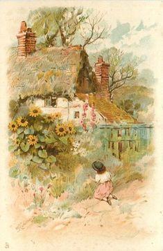 Vintage ephemera - Sweet cottage, little girl picking flowers