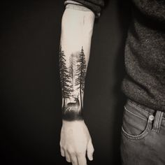 40 creative forest tattoo designs and ideas blackwork tattoo Forest Tattoo Sleeve, Forest Forearm Tattoo, Tree Tattoo Arm, Nature Tattoo Sleeve, Deer Tattoo, Forearm Tattoo Men, Sleeve Tattoos, Tattoo Nature, Deer Hunting Tattoos