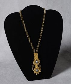 Neckpiece in Black and Gold with Pearls by Audrey Quinn