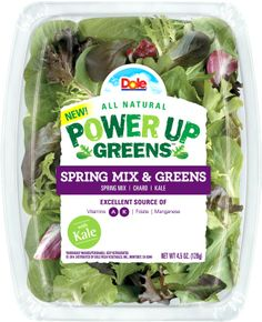Dole Power Up Greens is a new line of packaged greens delivering nutritious, fresh blends that can easily be tossed into a wide variety of recipes.
