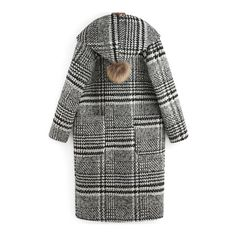 Black White Hooded Pockets Plaid Coat (€50) ❤ liked on Polyvore featuring outerwear, coats, tartan coat and plaid coat
