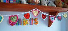 julia crossland ~ artist: Teeny Tiny Crochet Heart Bunting