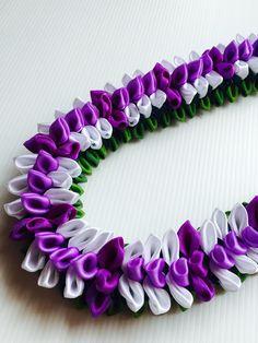 Purple White Orchard Flat Lai (Ribbon Lei) designed by Tracy Harada Ui'mauamau