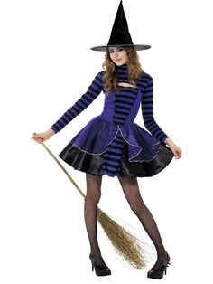 Teen Girls Stripe Dark Fairy Costume Witches Smiffys Halloween Fancy Dress 13+ #Smiffys #CompleteOutfit