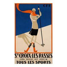 #Ste Croix Et Les Rasses Swiss Vintage Travel Poster - #travel #art
