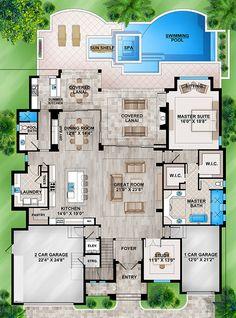 Home Design Drawing Coastal Plan: Square Feet, 4 Bedrooms, 5 Bathrooms - Florida House Plans, Coastal House Plans, Luxury House Plans, New House Plans, Dream House Plans, Modern House Plans, Beach House Floor Plans, Square House Plans, Luxury Houses