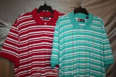 Mens Size 2XL Polo Golf Shirt Short Sleeve Striped Red or Green New by #Chaps | #eBay #Mens #Fashion #Style #Clothing