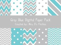 This pack has 10 different beautiful gray and blue digital papers.