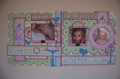 baby girl layout by Jamie Penson.... another idea to use up those eyelets and brads!