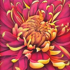 Silk Painting Chrysanthemum...close-up of center                                                                                                                                                                                 More