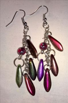 colourful dagger bead earrings