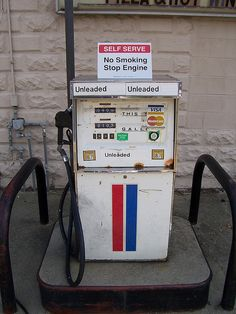 White Gas Pump with Red and Blue Lines by The Upstairs Room, via Flickr