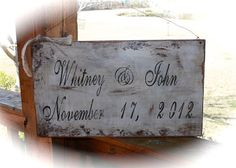 Wedding Sign with Names and Wedding Date by tinkerscottage on Etsy, $35.00