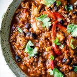 Slow Cooker Black Bean Quinoa Pumpkin Chicken Chili