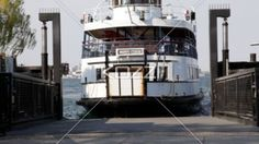 ferry at dock. - Video of ferry anchored at harbor.