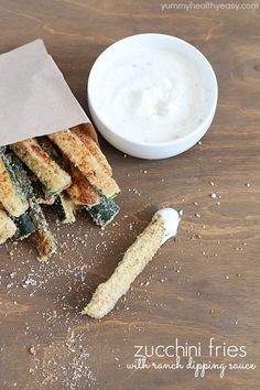 Zucchini Fries with yummy ranch dipping sauce - fun and easy side dish that's healthy and delicious!