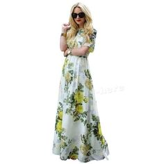 Sexy Women Summer Boho Floral Long Maxi Dress Evening Party Beach Dresses JHRG #Unbranded #Maxi