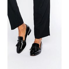 Mango Black Patent Loafer ($37) ❤ liked on Polyvore featuring shoes, loafers, black, black patent leather shoes, black flats, slip-on shoes, black slip-on shoes and black loafers