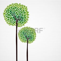 Trendy isolated green trees forest drawing file layered for easy manipulation and custom coloring  Stock Vector