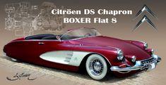 """Citroën DS Chapron Citroën DS Chapron de record de vitesse sur le lac salé de Bonneville. Citroën DS Chapron """"Turbotraction spirit"""". Dodge Viper """"Vintage"""". Chevrolet Corvette Roadster newstyle. Re-styling sur Hispano Suiza 1937. Cadillac Eldorado 1959..."""