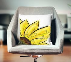 """Thanks for the kind words! ★★★★★ """"Turned out great. The colors were vibrant and looked just like the picture."""" Sarah M. http://etsy.me/2DbtUuz #etsy #pillow #yellow #polyesterpillow #sunflower #floralpillow #sunflowerlover #sunflowerdecor #yellowpillow #yellowhomedecor"""