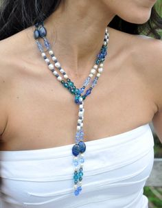 Blue Gemstone Lariat Necklace Lapis Lazuli by GueGueCreations, $198.00