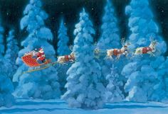 'Twas the Night Before Christmas Advent Calendar. A Santa and all of his reindeer are silhouetted against the snowcovered forest as they fly through the air in this traditional advent calendar.. Price: $6.95