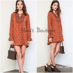 Tunic dress Printed boho style tunic with a relaxed comfortable fit. Price is firm unless bundled. Please comment with size and I will create a listing for you. S(2/4) M(6/8) L(10/12) - 55% cotton 45% polyester Dresses