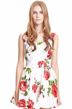 ROMWE | Bandeau Rose Print Tank Dress, The Latest Street Fashion #RomwePartyDress