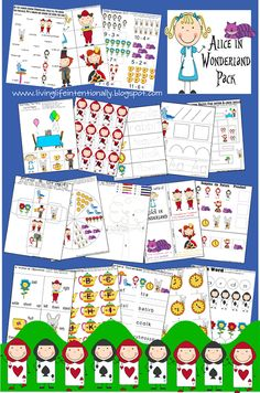 Alice in Wonderland worksheets for Toddler, Preschool, Kindergarten, 1st grade, and 2nd grade kids. LOTS of fun, FREE worksheets to practice numbers, letters, colors, and so much more!