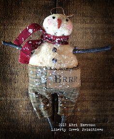 Primitive Snowman Ornie by Liberty Creek Primitives BRRR | eBay