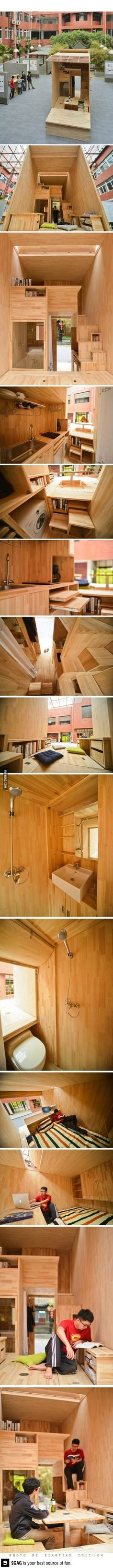 Student architect in China constructs 75 ft² room