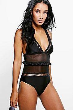 ¡Cómpralo ya!. Rome Boutique Ladder And Ruffle Mesh Swimsuit.  , bañador, bañadores, swimsuit, monokini, maillot, onepiece, one-piece, bathingsuit. Bañador  de mujer color negro de Boohoo.