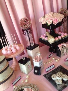 Pink black candy table