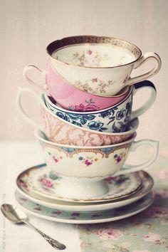 Stack of #vintage #teacups