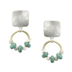 Marjorie Baer Square with Beaded Ring Clip on Earring