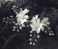 White Hair Pins Wedding Hair Pins Set of 2 Greenery Hair Pins Boho Wedding Hair Pins Flower Hair Pins Bridal Hair Pins Bridesmaid Hair Pins