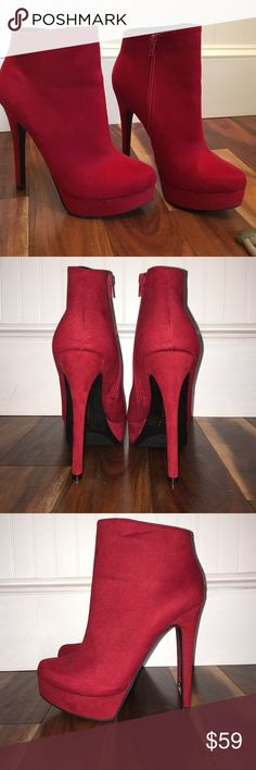 Red Stiletto Booties Gorgeous high heel deep red ankle booties. Never worn besides to try on however they are not in original box. They are in great condition besides a small black mark on inside of the left shoe that is not noticed unless you are inches away from it. Chinese Laundry Shoes Heeled Boots