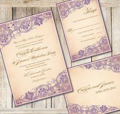 Printable Wedding Invitation Set  Dyi Wedding by RoseBonBonShop, $33.00