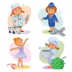 Buy Small Children Icons by vectorpocket on GraphicRiver. Set of vector icons of small children doctor, stewardess, dancer, cook Vector Icons, Vector Free, Doctor For Kids, Children Doctor, Vector Photo, Free Logo, Character Portraits, Baby Games, Infant Activities