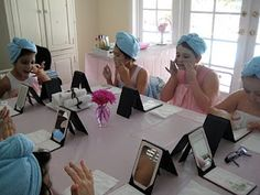 Creative Party Ideas by Cheryl: Spa Party..OHHH i still have the mirrors JUST like that from mary kay!