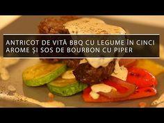 [Video] Antricot de vită BBQ cu legume în cinci arome și sos de bourbon cu piper   Cavaleria Bourbon, Steak, Bbq, Chicken, Food, Bourbon Whiskey, Barbecue, Barrel Smoker, Essen
