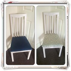 Before and after re covering a chair