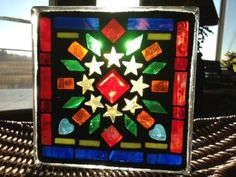 Stained Glass Mosaic Glass Blocks for $35 at Paper Collector in St Cloud  www.colorfulgirl.com Sea Glass Art, Mosaic Glass, Stained Glass, Christmas Mosaics, Christmas Holidays, Christmas Ideas, St Cloud, Glass Houses, Glass Blocks