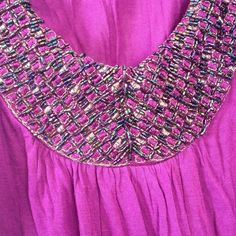 Charlotte Russe Beaded Scoop Neck Top (Size M) Magenta Purple. Multi-Color Beads and beautiful threading in scoop neck. Short sleeve. Flows out/ great on all body types! 100% Rayon Charlotte Russe Tops Blouses