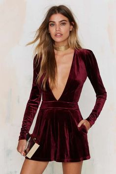 Lioness Luck be a Lady Velvet Romper - Burgundy - Rompers + Jumpsuits : Long Sleeve
